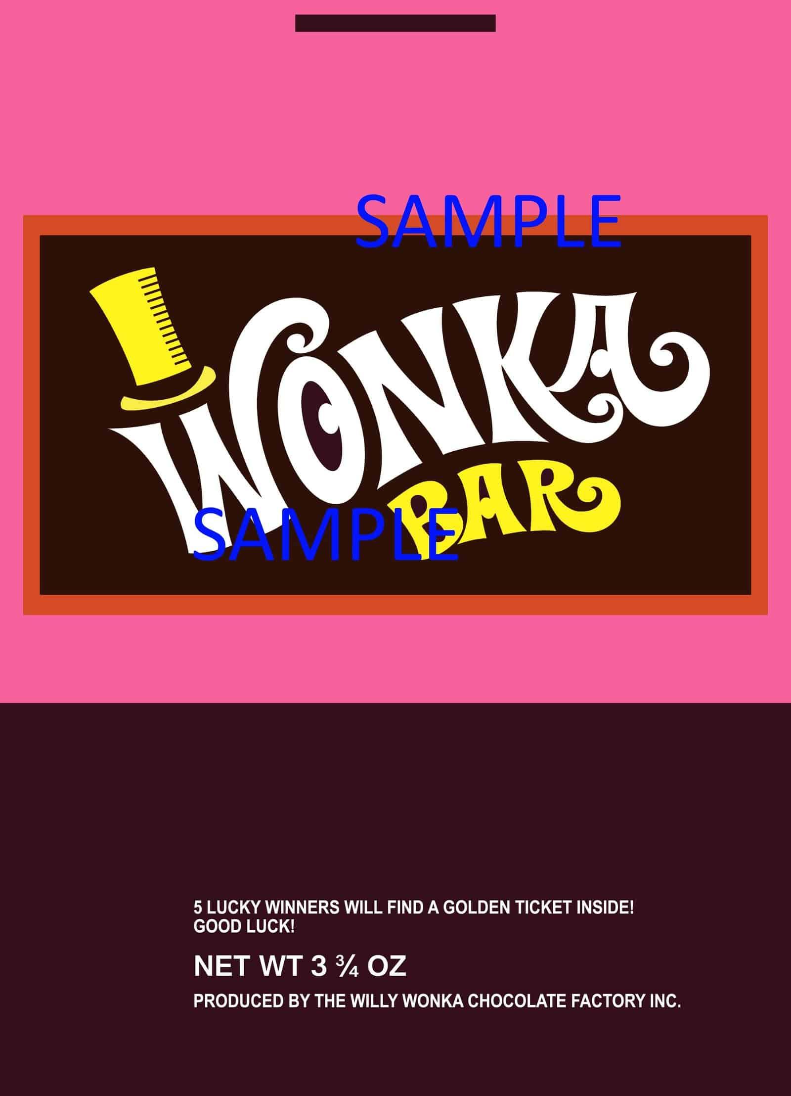 Willy Wonka Candy Wonka Bar Golden Ticket Replica