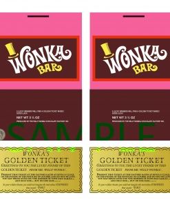 Wonka Bar Candy Bar Wrappers and Golden Ticket Reproductions Replicas