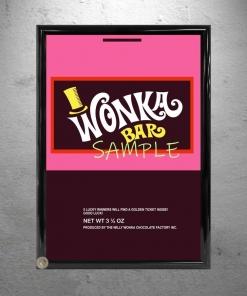 Wonka Bar Wrapper Framed Replica Prop Sample