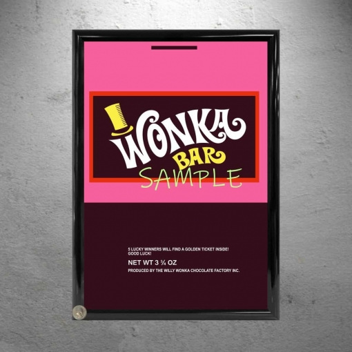 Wonka Bar Wrapper Framed Replica Prop Sample