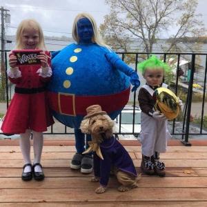 Willy Wonka kids in costume with my Wonka Bar