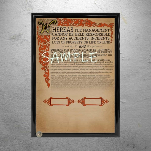 Willy Wonka Framed Contract Replica Poster Print