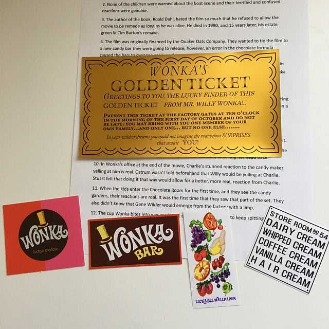 Willy Wonka Golden Ticket and other stickers