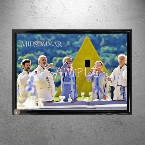 Framed Midsommar Yellow House Group Lunch Framed Art Print Poster Print 13 x 19