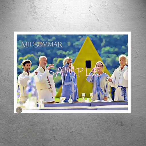 Midsommar Yellow House Group Lunch Art Print Poster Print