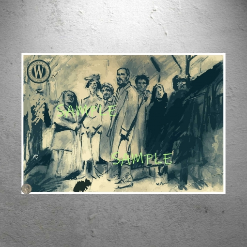 Snowpiercer group photo sketch poster print