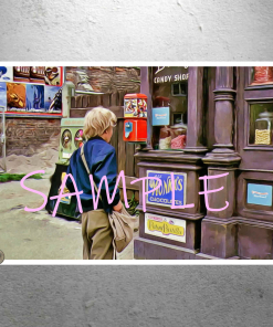 Willy Wonka - Charlie outside of Bill's Candy Shop - The Candy Man - Art Artwork