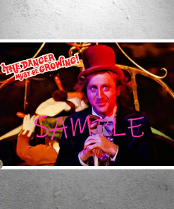 Willy Wonka - Gene Wilder - Scary Wonkatania Boat Scene with text - Art Artwork. Poster Print